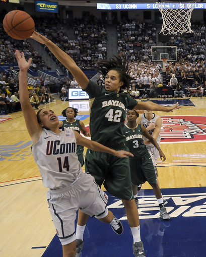 Griner blocks UConn guard Bria Hartley